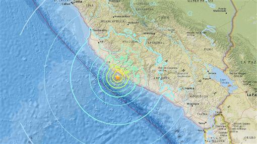 祕魯地震(圖/翻攝自美國地質調查所)