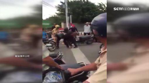 情侶雙載沒戴安全帽 遭開單竟暴衝撞交警