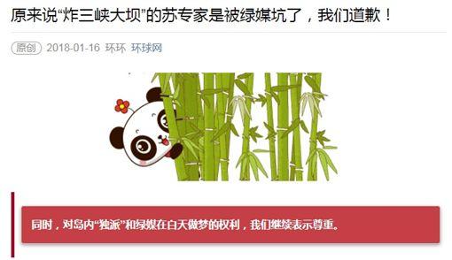 大陸官媒《環球網》發文向蘇紫雲道歉(圖/翻攝自《環球網》)