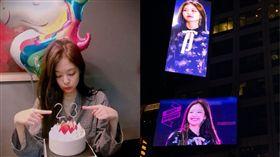 ▲BLACKPINK成員Jennie生日,粉絲獨資包下美國時報廣場看板。(合成圖/翻攝自BLACKPINK IG、Jan 16th推特)