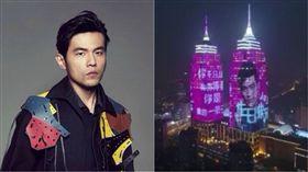 ▲上海環球港祝周杰倫生日快樂。(合成圖/翻攝自周杰倫IG)