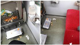 台鐵座位滿是垃圾和果皮(圖/翻攝自爆怨公社)