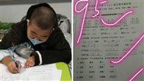 中國大陸,男童,癌末,期末考,考試,考卷,大腸癌(圖/翻攝自微博)