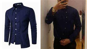 網路上買新品春裝深藍襯衫,沒想到穿起來卻變這樣…(圖/翻攝爆料公社)