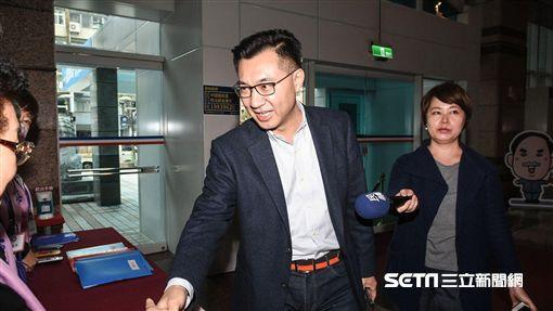 國民黨立委江啟臣說明台中市長人選。 圖/記者林敬旻攝
