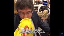 加泰前主席吻西班牙國旗 影片網路瘋傳(圖/翻攝自YouTube)