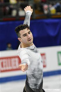 四大洲花式滑冰錦標賽男子短曲美國選手Max Aaron 圖/記者林敬旻攝