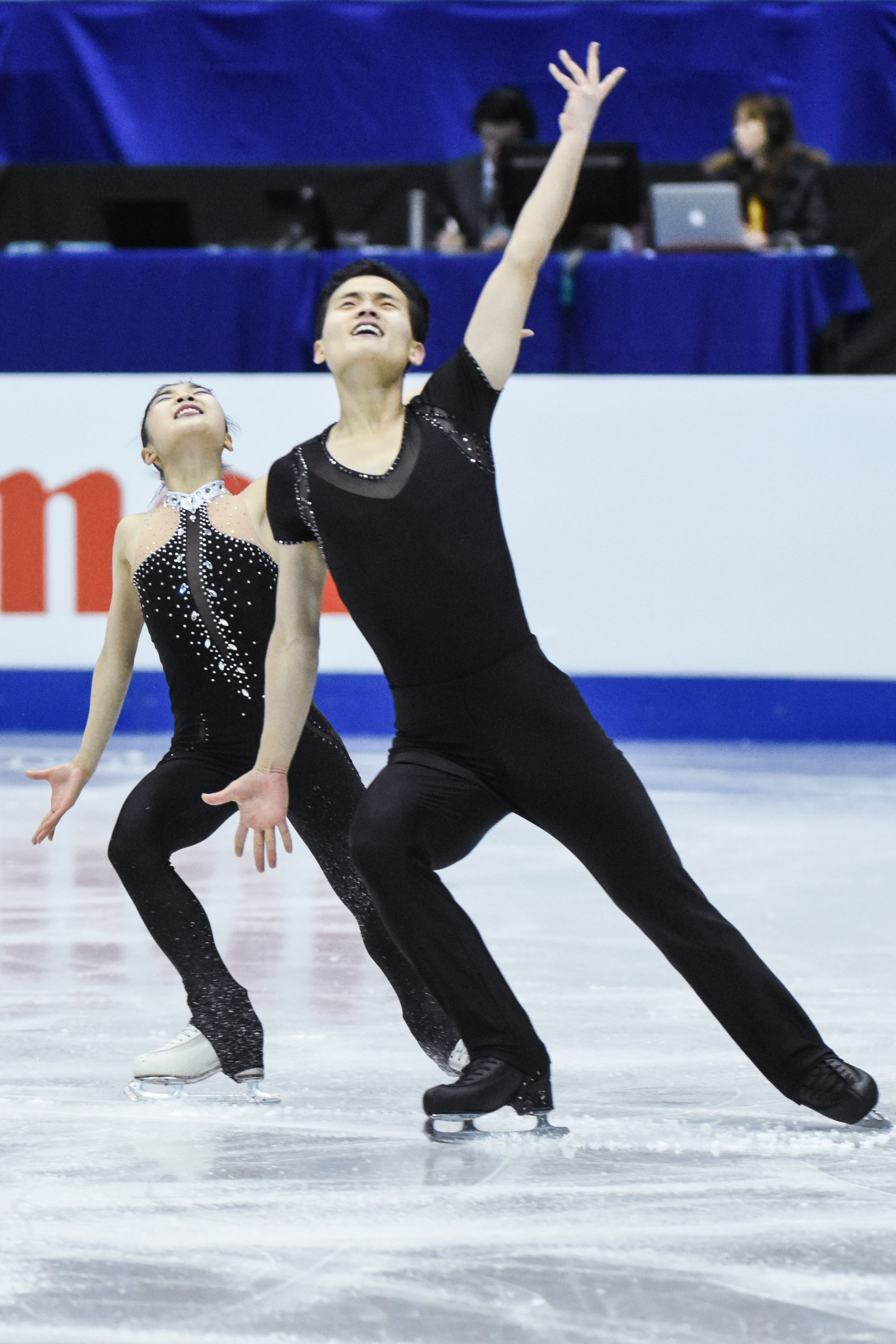 四大洲花式滑冰錦標賽雙人長曲北韓選手廉太鈺、金柱植。 圖/記者林敬旻攝