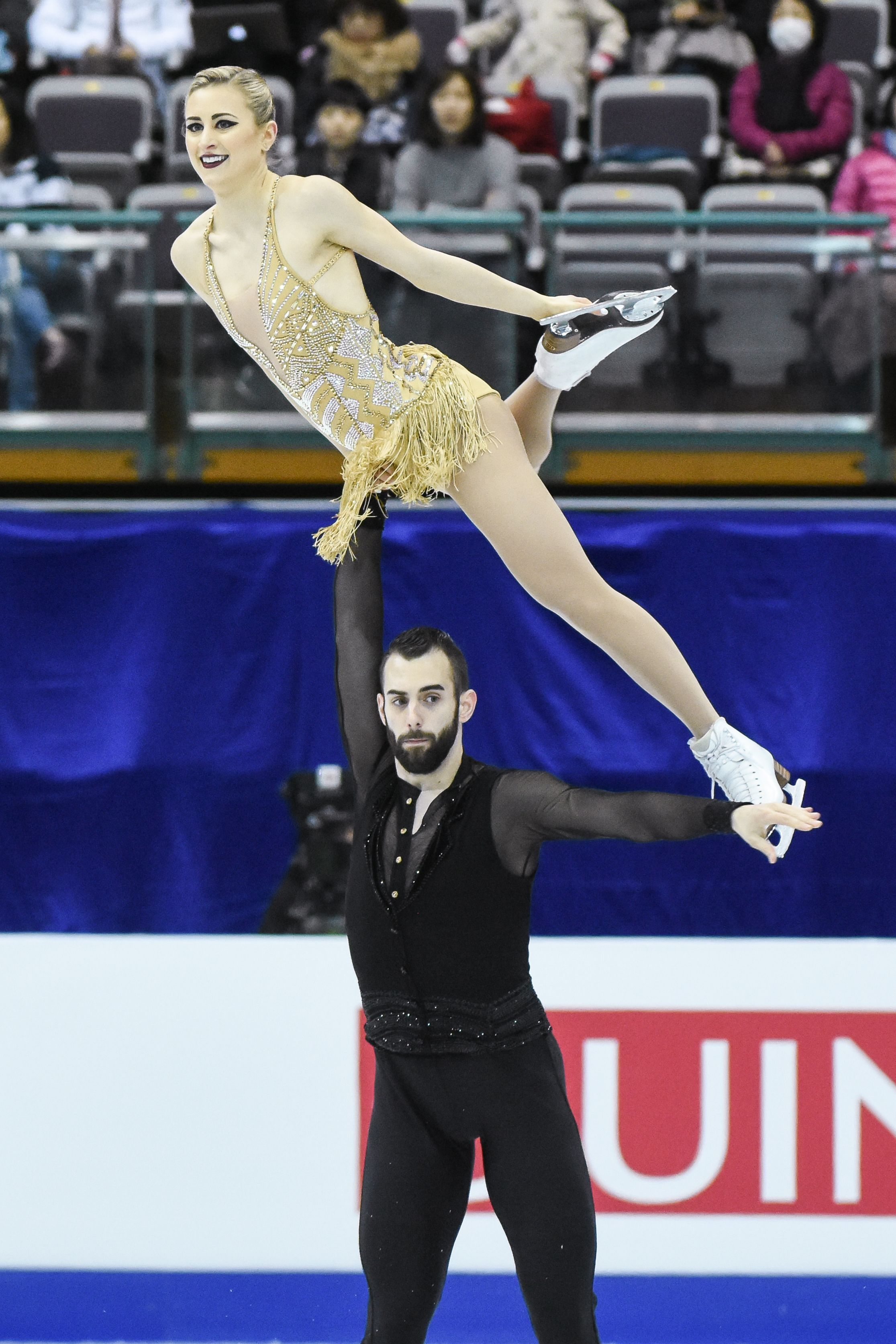 四大洲花式滑冰錦標賽雙人長曲美國選手Ashley Cain、Timothy Leduc。 圖/記者林敬旻攝