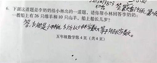 中國大陸四川小學考題(圖/微博)