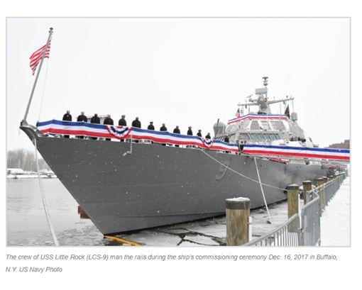 美國,軍艦,小岩城號,USS Little Rock LCS-9,加拿大,冰封,蒙特婁,老船埠灣,Old Port ▲圖/翻攝自USNI News