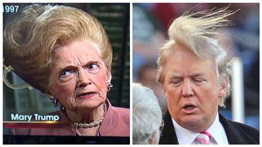 嚇到吃手手!川普媽髮型比兒子還狂 網笑:髮膠用免驚Mary Trump, Donald Trump,合成圖/翻攝自推特