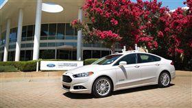 Ford自動駕駛車頂安裝光學雷達。(圖/翻攝Ford網站)