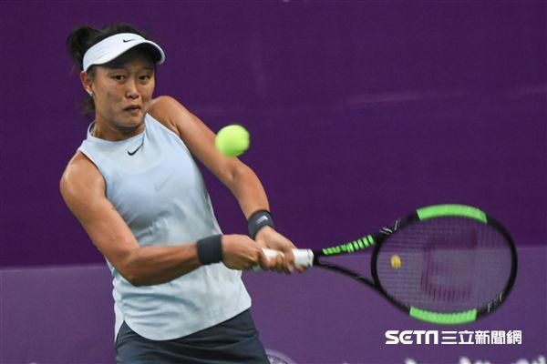 WTA台灣公開賽單打張凱貞。(圖/記者林敬旻攝)
