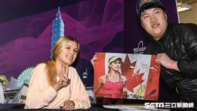 WTA台灣公開賽尤金妮·布夏德簽名會。(圖/記者林敬旻攝)