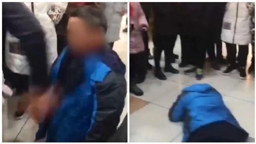 中國大陸中年男人被逼下跪遭掌摑(圖/翻攝自《澎湃新聞》)