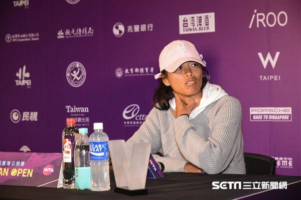 WTA台灣公開賽,謝淑薇露面接受記者採訪。 圖/記者林敬旻攝