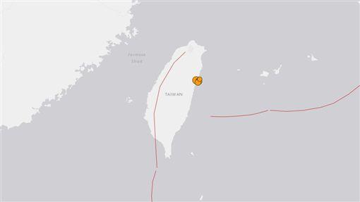 台灣地震圖(圖/翻攝自USGS)