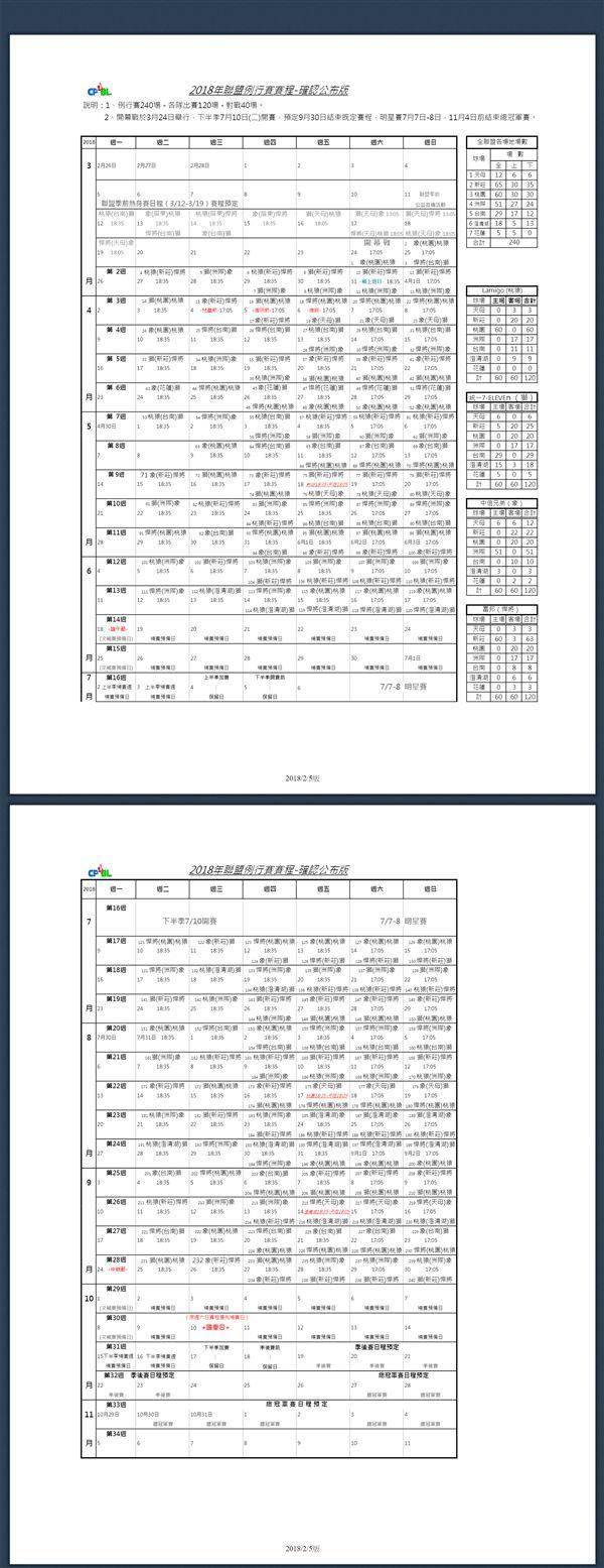 中職賽程表。(圖/中職提供)