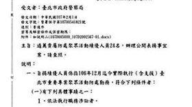台大教授在臉書上傳警政署公文,質疑警察在聚眾活動被告也能敘獎不合理(翻攝李茂生臉書)