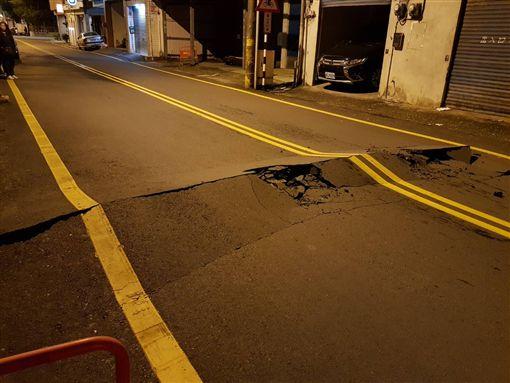 路面,地震,裂開,花蓮,
