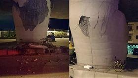 7級地震強襲花蓮 七星潭橋橋墩扭曲變形 圖/翻攝畫面