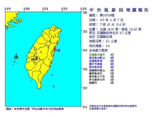 花蓮昨(6)日晚間11時50分發生規模6.0的淺層地震,最大震度7級,後續又發生多次餘震,自4日至今已超過百起地震。氣象局