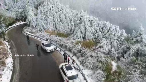 美如仙境!合歡山積雪35cm 轎車雪地甩尾