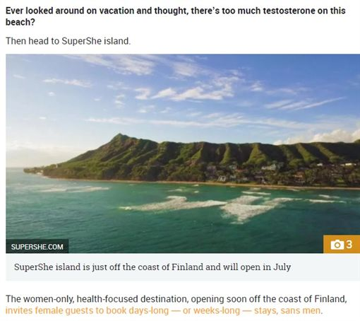 「SuperShe(超女島)」是個度假小島,距離芬蘭首都赫爾辛基約90分鐘航程,該島相當特別,僅接受女性前來度假、放鬆,不歡迎男士。目前「超女島」將開始接受預訂,預計在今年6至7月間開放首批遊客。(圖/翻攝自《THE Sun》) ID-1245473