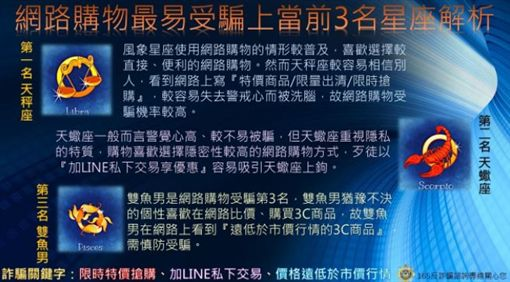 內政部,網購,詐騙,星座,天秤座,天蠍座,雙魚座,LINE,交易(圖/翻攝自內政部)https://www.moi.gov.tw/chi/chi_news/news_detail.aspx?type_code=02&sn=13456