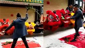 廣東一名男子拿國旗來表演腳踏,涉嫌侮辱國旗,被依法刑事拘留。(圖/翻攝澎湃新聞)