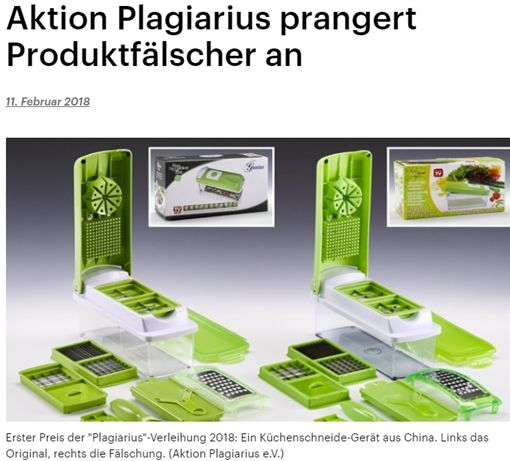 德國反剽竊行動協會「Aktion Plagiarius」日前舉辦「金鼻子剽竊獎(Plagiarius)」頒獎典禮,中國企業不僅奪得第1名,還囊括前3名,「不負眾望」成為該頒獎典禮的「大贏家」。(圖/翻攝自deutschlandfunk網站)