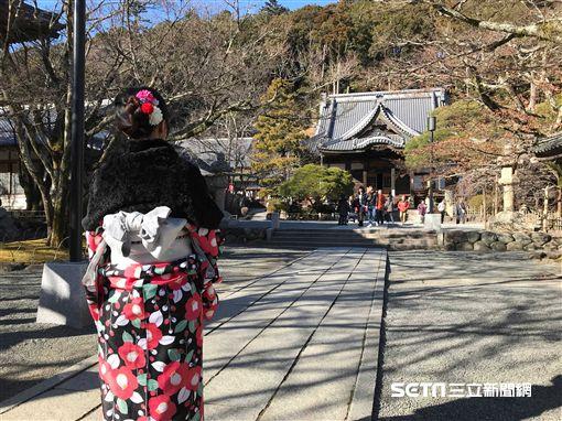 富士山、靜岡地區周遊券Mini交通券.修善寺,和服,富士山。(圖/記者簡佑庭攝)