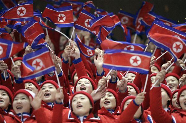 ▲北韓加油團。(圖/美聯社/達志影像)