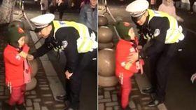 多日未見交警爸 4歲兒燈會最暖偶遇/翻攝秒拍