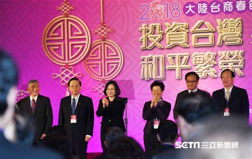 蔡英文總統出席「2018大陸台商春節聯誼活動」。(圖/記者盧素梅攝)