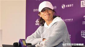 WTA台灣公開賽,謝淑薇露面接受記者採訪。(資料照/記者林敬旻攝)