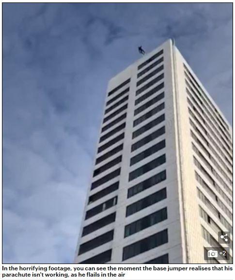 男子從24層樓跳傘失敗,奇蹟似的沒有生命危險。(圖/翻攝Daily Mail)