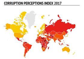國際透明組織公布2017年清廉印象指數。翻攝國際透明組織官網。