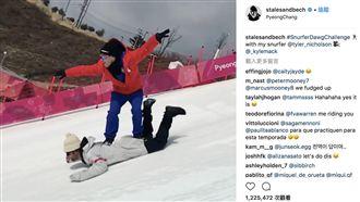冬奧選手愛搞怪!驚見「人肉滑雪」