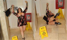 溼滑地板滑跤…她36FF傲人巨乳彈出 據英國《鏡報》報導,