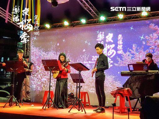 內湖樂活公園音樂會,夜櫻,櫻花。(圖/公園處提供)