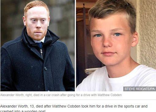 英國薩里郡一名39歲汽車保養場負責人科布登(Matthew Cobden),帶著一名13歲少年沃斯(Alexander Worth)試乘法拉利F50跑車兜風,不料跑車超速失控,撞上路邊的木欄,導致沃斯慘死,而科布登則保住性命。(圖/翻攝自Express.co.uk)