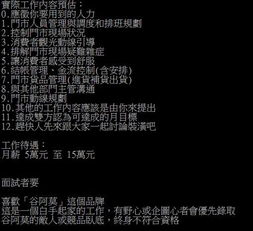 谷阿莫 鳳梨酥店徵才/翻攝自PTT