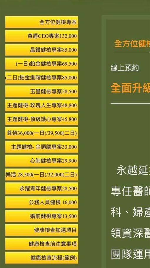 李妍憬健康檢查價目表/翻攝自臉書