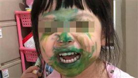 小孩安靜準沒好事,小孩臉部塗鴉崩壞照(圖/翻攝自爆廢公社)