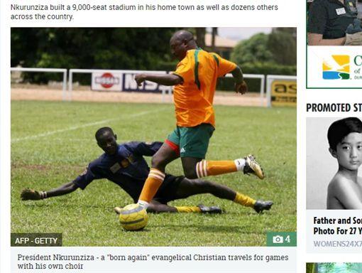 東非國家蒲隆地總統恩庫倫齊薩(Pierre Nkurunziza)踢足球(圖/翻攝自太陽報)
