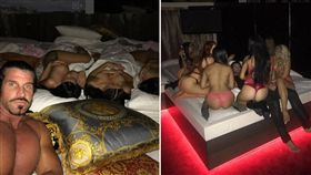 澳洲一名46歲煙草大亨貝農(Travers Beynon),常在社群平台分享一男床戰多女的「戰績」影片。貝農在去年12月底舉辦1000人的性愛淫趴,號稱是「世界上最大的室內派對」,耗資新台幣約4千萬元打造。(圖/翻攝自candyshopmansion IG)