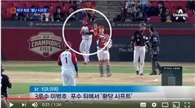 ▲韓國職棒曾經發生敬遠時三壘手意圖布陣在本壘後方場面。(圖/截自網路)