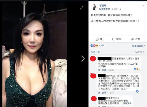 ▲丁國琳在臉書上提問「胸大無腦是成語?」。(圖/翻攝自臉書)